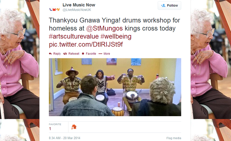Yes, drum workshops for the homeless.