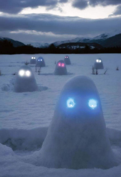 snow lumps with glow stick eyes
